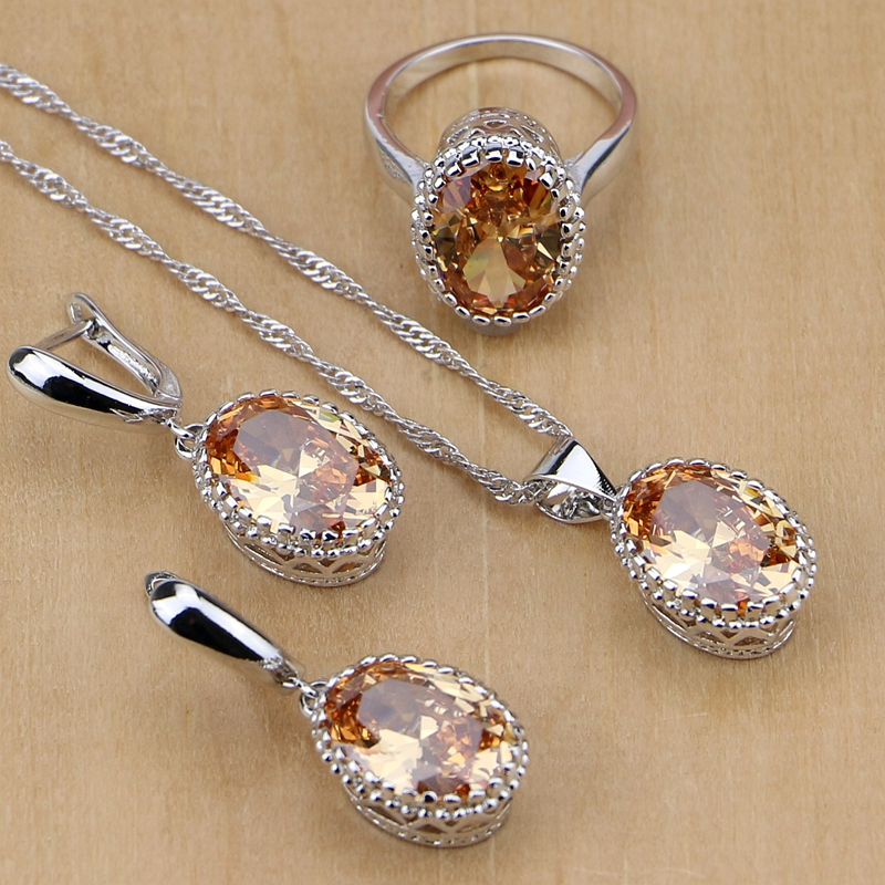 Mystic 925 Sterling Silver Bridal Jewelry Champagne AAAA CZ Jewelry Sets For Women Earrings/Pendant/Necklace/Rings все цены