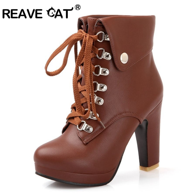 REAVE CAT Plus Size Platform High Heels Boots Lace Up Chunky Heel Ankle  Boots for Women