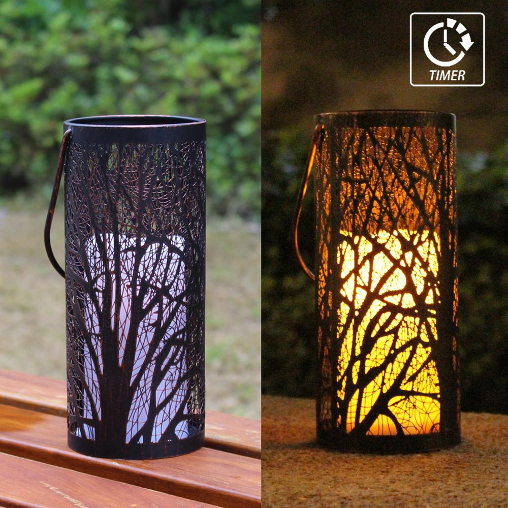 WRalwaysLX Decorative Woods Lantern With Timer Flameless Candle Indoor/Outdoor (Hanging), Engraved Steel With Bronze Undertones