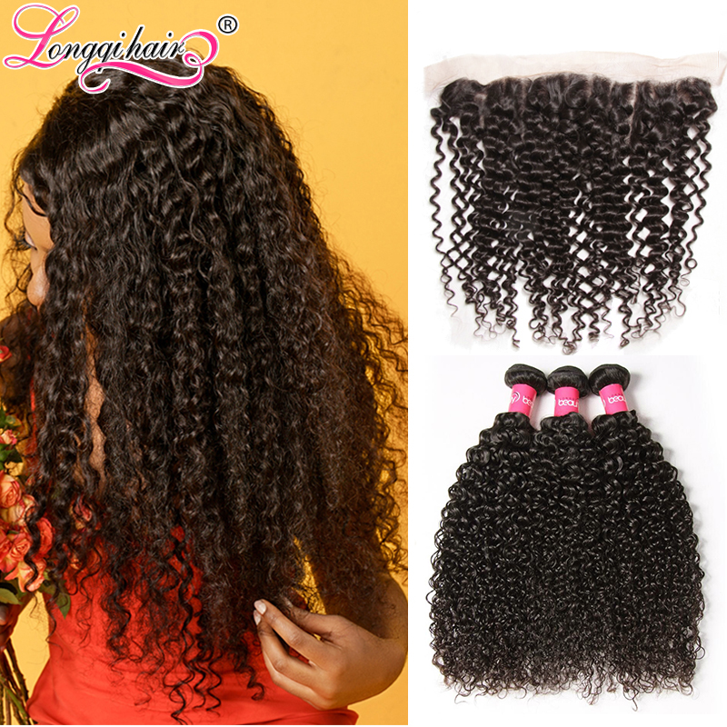 Longqi Hair Cambodian Curly Bundles with Frontal Remy Human Hair Extension 3 Bundles and Frontal 13x4