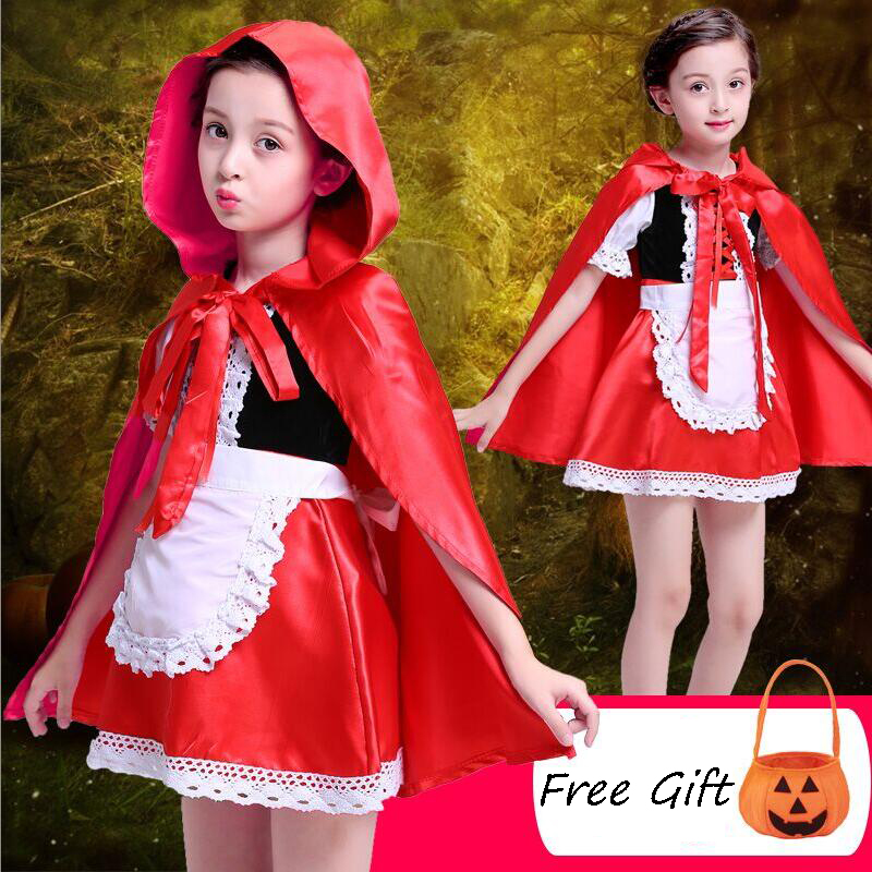Girls Princess Halloween Costume Little Red Riding Hood Cosplay Dress Cloak Hooded Cape Kids Party Ball Gown