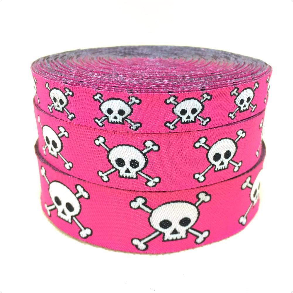 10yards/lot 7/822mm 5/816mm 3/810mm Cartoon Cute skulls 100% Polyester Woven Jacquard Ribbon Dog cat pet creative accessorie