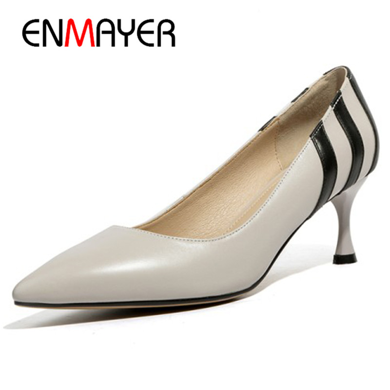 Фотография ENMAYER Office Ladies Shoes Woman High Heels Pumps Size 34-40 Black Apricot Gray Pointed Toe Shoes Genuine Leather Shoes