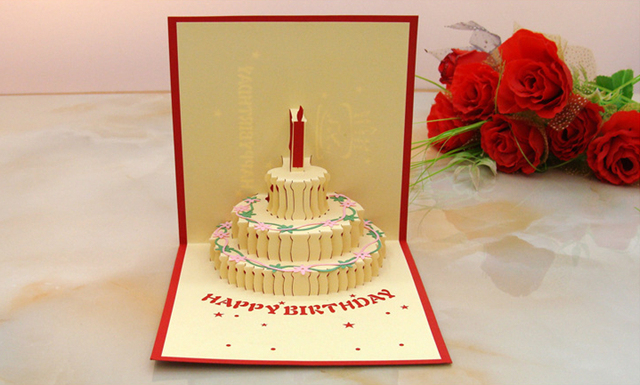 15x15cm 3D Flocking Paper Greeting Cards 59 Birthday Card Foldable Cake Candle Design For Birth Invitation Party