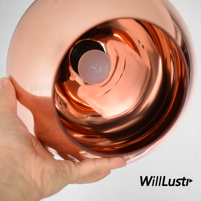 Willlustr Copper Glass Shade pendant light modern suspension lighting mirror ball lampshade Pendant Lamp size 20/25/30/35/40cm