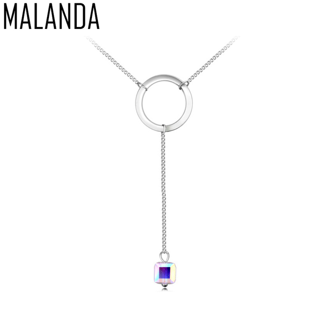 MALANDA Brand 2017 New Necklaces With Crystal From Swarovski Crystal Long Pendant Maxi Necklace For Women Party Jewelry Gift