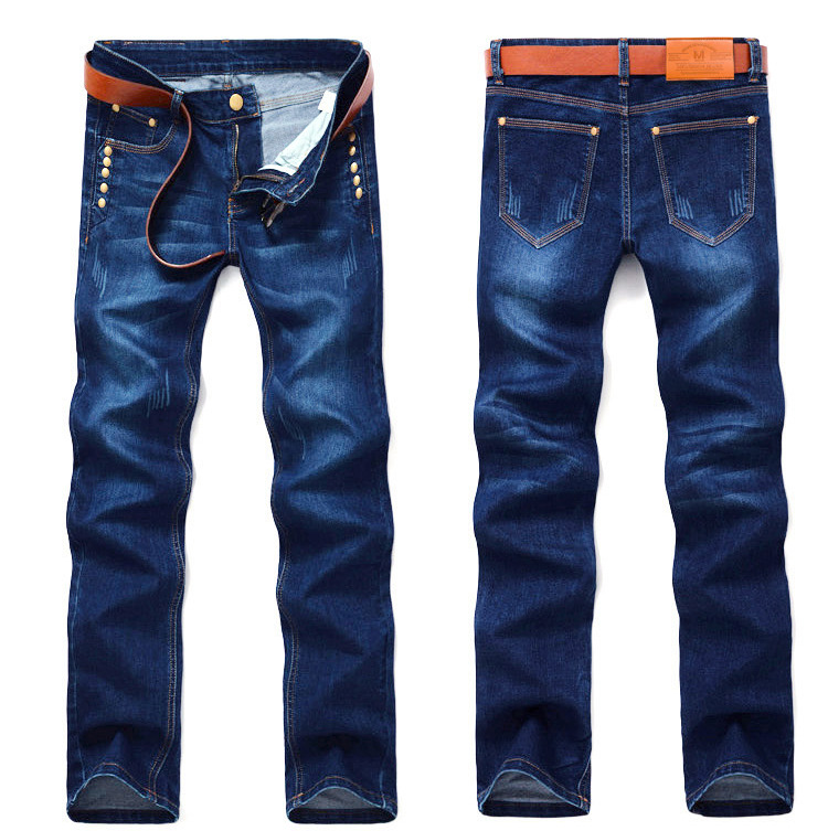 2016 Plus Size Mens Jeans New Arrival Thunderstar Straight Full Length Solid Buttons Denim Pants HX4
