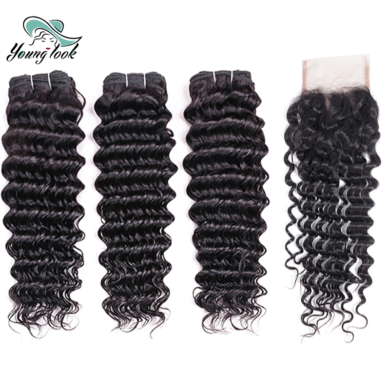 Young Look Deep Wave Bundles With Closure Free Part 3 Bundles Brazilian Hair Weave Bundles With Lace Closure 4*4 Non-Remy
