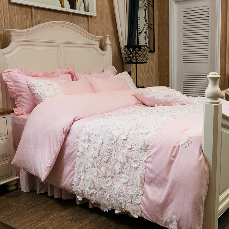 Ivarose Egyptian Cotton Lace Korea Style Bedding Set Girls Women