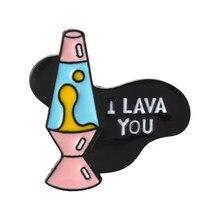 Cartoon Rosa Lava Lampe Pins ICH LAVA SIE Pins Lava Liebe Schmuck Valentinstag Geschenk für Freundin Freund Ihn ihre