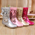 Alta Calidad 2016 Nueva Moda Elegante Botas de Princesa Arco de Cristal Niñas Zip Botas de Nieve Impermeable Botas Altas SHXD037