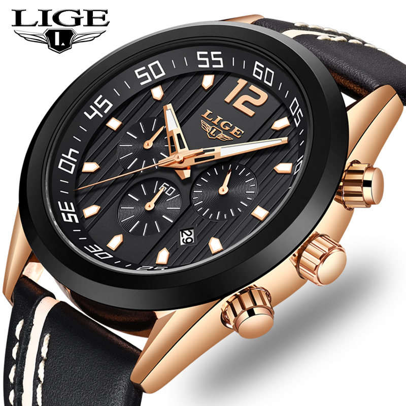 2019 LIGE Mens Watches Top Brand Luxury Military Sport Watch Men Leather Waterproof Chronograph Quartz watch Relogio Masculino2019 LIGE Mens Watches Top Brand Luxury Military Sport Watch Men Leather Waterproof Chronograph Quartz watch Relogio Masculino