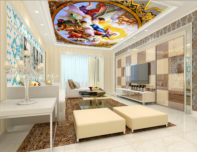 Custom ceiling wallpaper,virgin Maria and angel oil painting for the living room bedroom ceiling wall waterproof papel de parede custom ceiling murals wallpaper virgin maria and angel for the living room bedroom wall waterproof pvc papel de parede