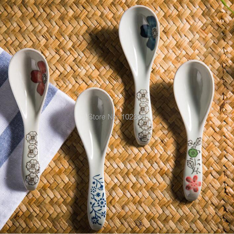 50pcs The flower of ceramic spoon ceramic tableware soup spoon retro creative scoops flatware scoop