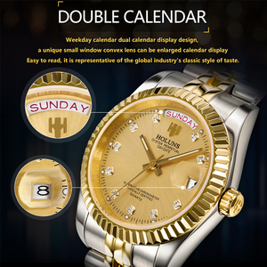 Image 3 - Holuns Men Watches 2019 Luxury Top Brand Gold Diamond Role Quartz Stainless Steel Calendar Relogio Masculino Wrist Watch Clock