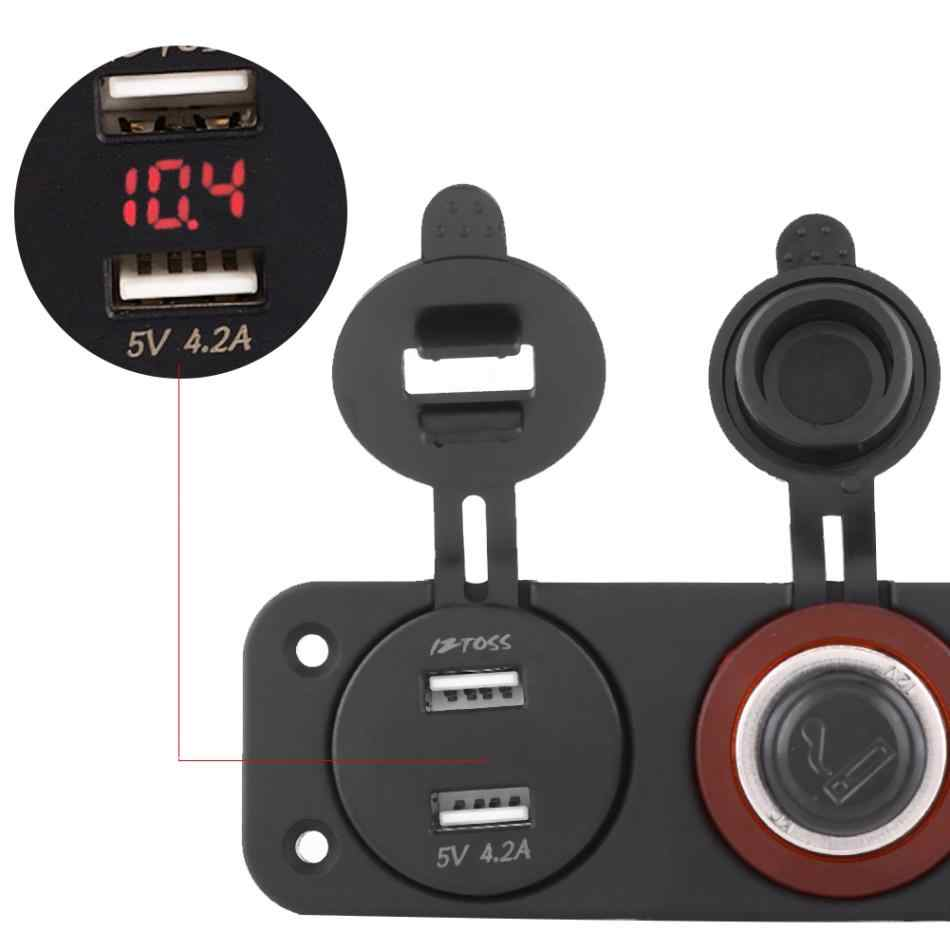 12V-24V Cigarette Lighter Dual USB Voltmeter LED Display For Car Boat Yacht RV Truck USB Cigarette Lighter Voltmeter