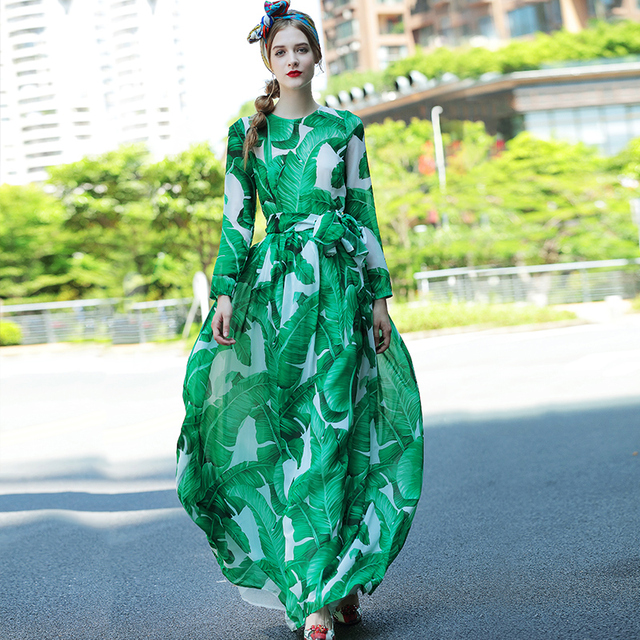 European 2016 High-end Designer Autumn Fashion Green Print Dress Slim Waist Silk Chiffon Dress Big Swing Bohemia Floor Dress