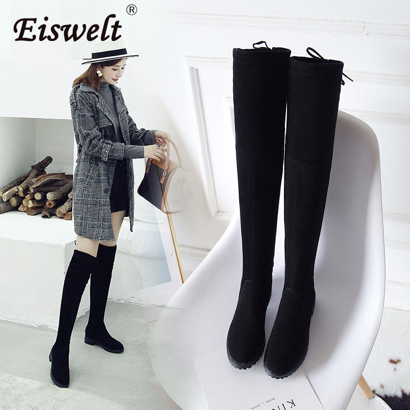 6b7e65d81af EISWELT Thigh High Boots Female Winter Boots Women Over The Knee Boots Flat  Stretch Sexy Fashion