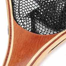 Wooden Handle Nylon 60x28x37cm Fly Fishing Trout Landing Small Mesh Fishing Net Catch Release Frame Sea Fishing Tackle Accessory