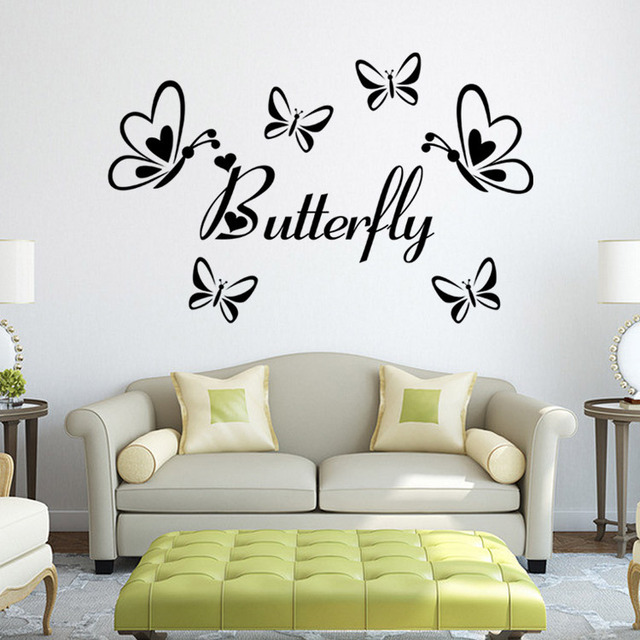 lowest price classic black butterfly flower wall sticker home decor