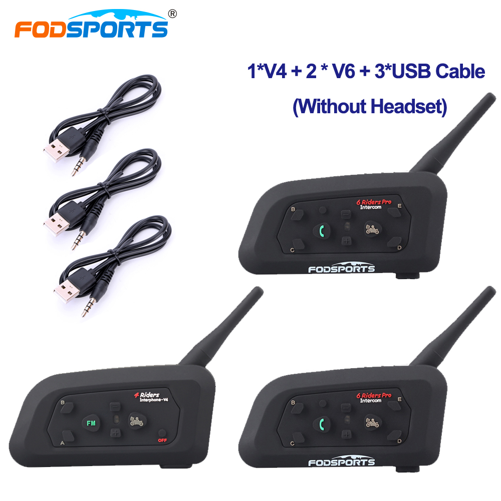 Fodsports Referee Intercom BT Interphone 3 Riders Talking At The Same Time For Football Judge Bike V4 V6 Intercom Host