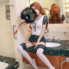 Женское сексуальное кружевное нижнее белье с вышивкой павлина, женское белье в стиле «Ретро», прозрачные костюмы+ чулки, эксклюзивное кружевное платье с вышивкой