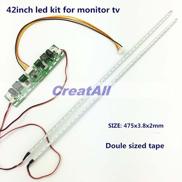 42inch  7020 LED Aluminum Plate Strip Backlight Lamps Update Kit for LCD Monitor TV Panel 2 LED Strips 475mm