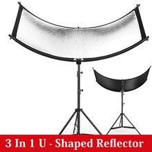 Reflector 3 en 1 tipo U de 160x55cm, Pantalla reflectante de luz de fotografía plegable para estudio, difusores de disco de foto múltiple, accesorios