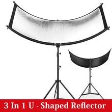 U tipo di 160*55 centimetri 3 In 1 Riflettore Pieghevole Photography Luce schermo riflettente per Studio Multi Photo disco Diffuers acessorioRiflettore