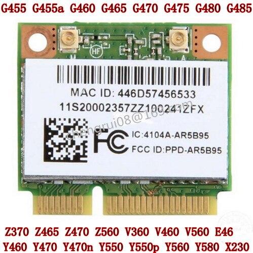Atheros AR5B95 AR9285 802.11B/G/n V460 G460 B560 Z460 Z560 Y460 Z475 E46a E46g E46L G455 G460 x230 G480 WiFi cuidado WLAN