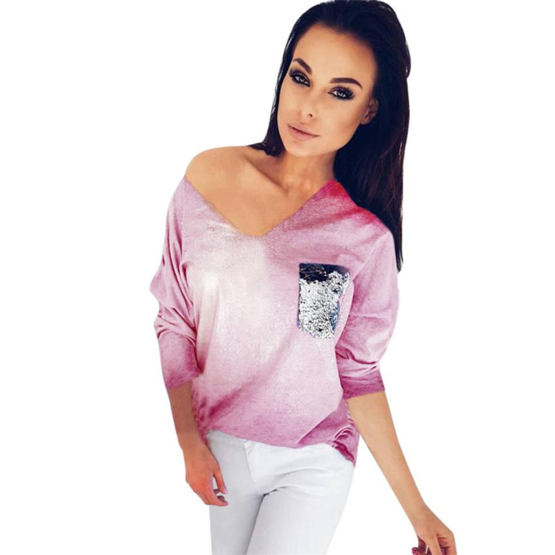 Female Sweatshirt Solid Women Hoodies Sweatshirts Long Sleeve Sexy Deep V-Neck Pullover With Pocket Sequins Plus Size #TW