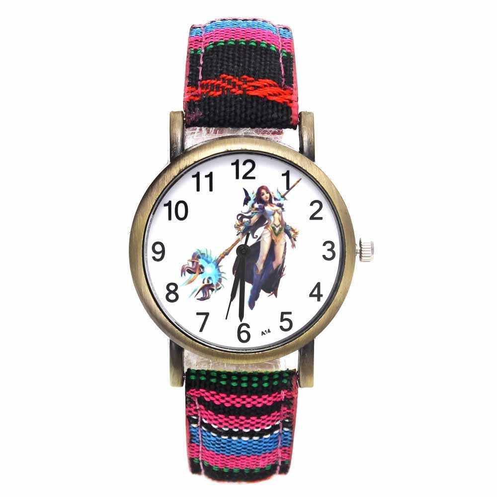 Ангел игра женщина воин красочные кварцевые часы для женщин принцесса полосы джинсовые часы модные повседневные наручные часы