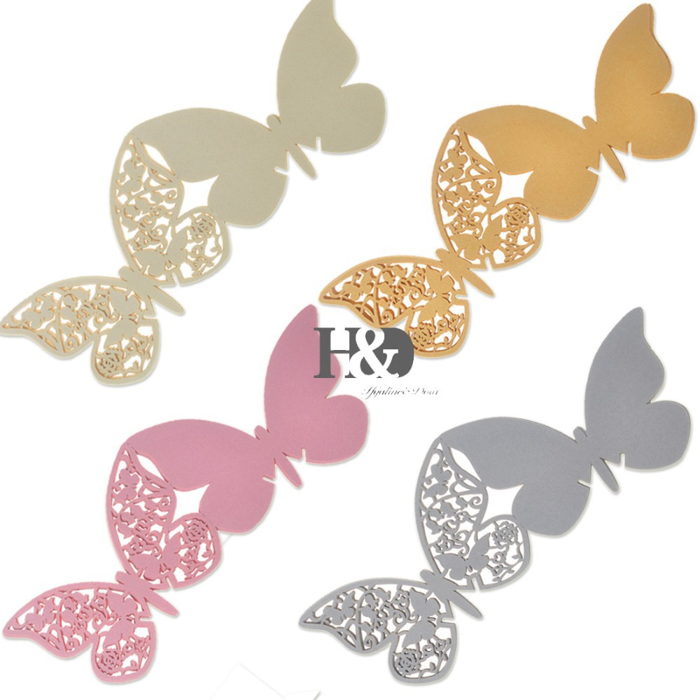 12 PCS Four Colors for Your Chose Laser Cut Paper Double Butterfly ...