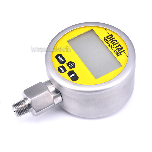 Battery Powered Metal Case Digital Pressure Manometer Gauge, 0-60Mpa G1/4 0.25% 3 Units portable digital lcd display pressure manometer gm510 50kpa pressure differential manometer pressure gauge