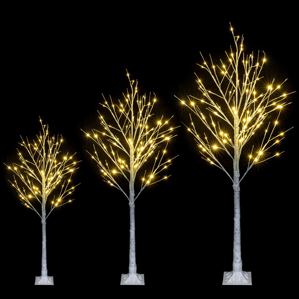 Living Christmas Trees For Sale: 4FT/5FT/6FT LED Birch Tree Christmas Decorations Lighted