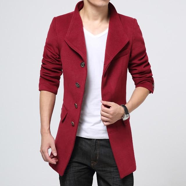 83170284031 Wool Winter Long Coat Men Slim Fit Single Breasted Peacoat Plus Size M-3XL  Warm Fleece Outdoor Mens Woolen Overcoat