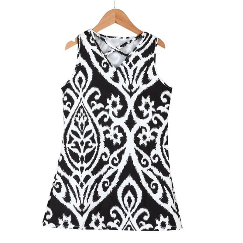 Baby Kid Girls V-neck Elastic Casual Sleeveless Print Dress Family Clothes Princess Dresses Bow Fashion S3MAY8