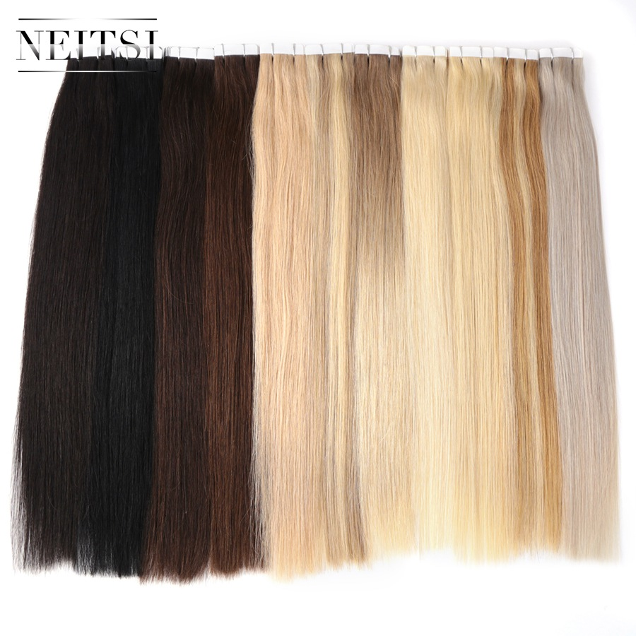 Neitsi Adesiva Trama Da Pele Em Linha Reta Nenhum Cabelo Remy Tape In Human Hair Extensions 16