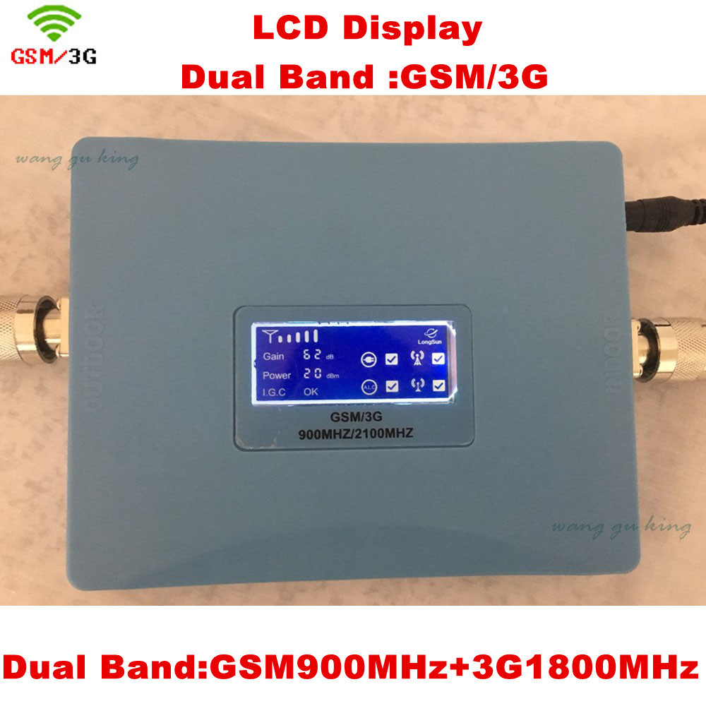 LCD Display GSM 900 3G 2100 Mhz Dual Band Repeater GSM 3G UMTS Cell Phone Amplifier 3G WCDMA 2100 Cellular Mobile Booster