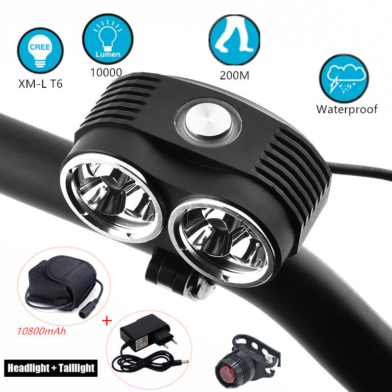 Bicycle Front 10000 Lumens LED Flashlight Rechargeable handlebar Headlight Biking Tail light 18650 Battery Pack стоимость