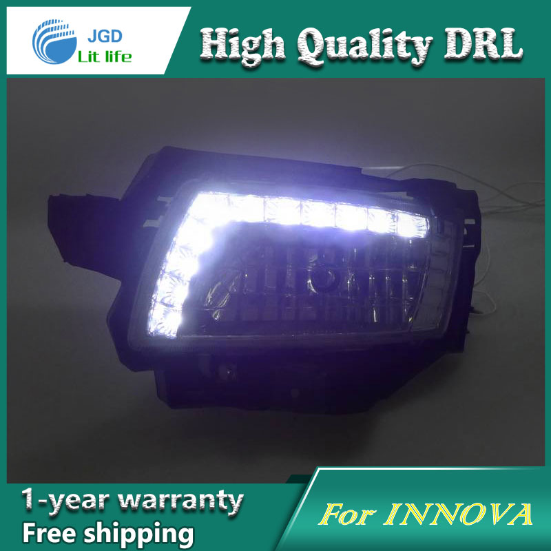 Free shipping !12V 6000k LED DRL Daytime running light case for Toyota INNOVA 2009 2010 fog lamp frame Fog light Car styling 2013 2016 innova daytime light free