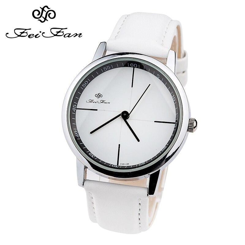 Simple Style Watches Men Women Leather Strap Quartz-watch 2017 Fashion FEIFAN Brand Black White Wristwatches Quartz Watch Gifts