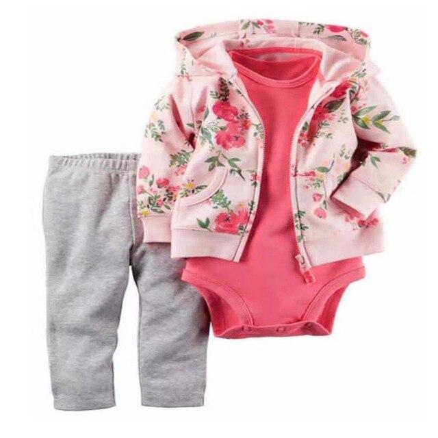 Красные Гвоздики цветы 2017 Новая модель для девочек Свободный корабль дети девочка мальчик одежда набор, детей bebes одежда установить Повседневная одежда