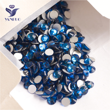YANRUO 2058NoHF SS16 Capri Blue 1440Pcs Crystal Rhinestone Nail Art Decorations Non Hotfix Flat Back Strass DIY