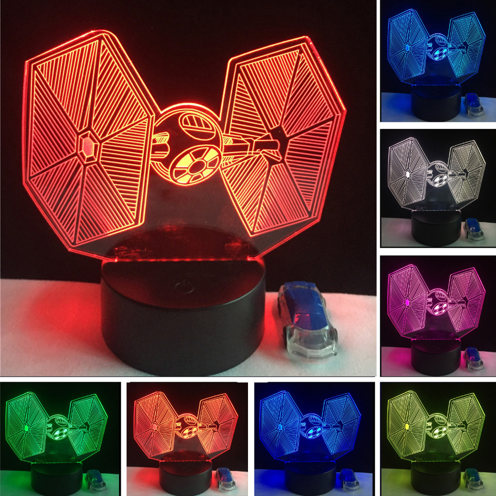 Star Wars 3D Force Awakens Tie Fighter Figure Lamp Visual 7 Color Change Night Light Visual Table Child New Year Birthday Gifts nba star 7 color lamp 3d visual led