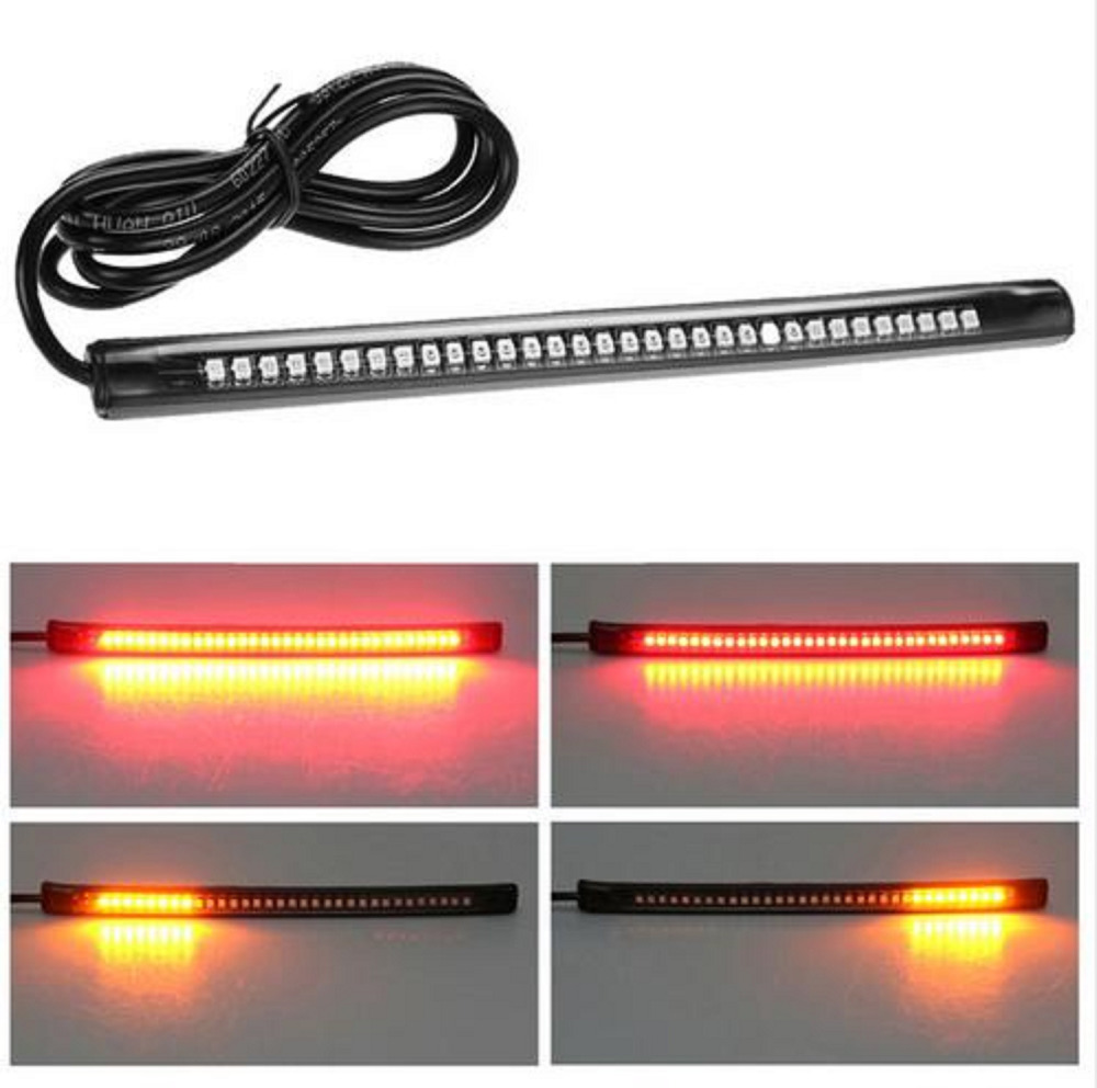 Universal Flexible 12V 32 LED Motorcycle Brake Light Turn Signal License Plate Lamp High Quality Strip Flash Tail Stop Light