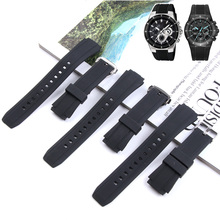 Silicone Bracelets Durable Stainless Pin Buckle Straps for Casio Edifice Series EF-552 Man Rubber Watchbands Black 25mm+Tools
