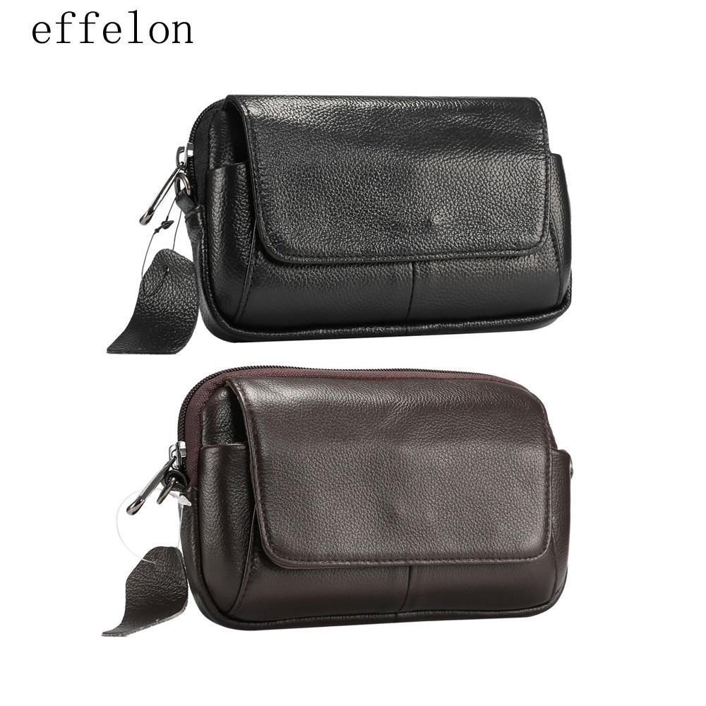 Genuine Leather Waist Bag Belt Pouch for Samsung for iphone Case Shoulder Bag for Below 6.5 Smart Phones Fashion Men Hand Bag