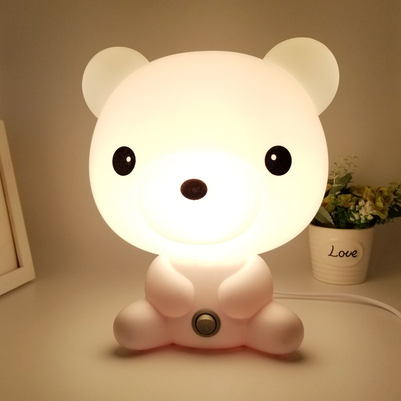 EU Plug 220V Bright Bear Led Night Light for Children Baby Kids Gift Animal Cartoon Decorative Lamp Bedside Bedroom Living Room decorative cartoon bear led night light silicone white bedside night lamp for children baby christmas birthday gift