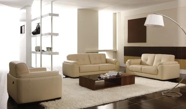 European High Grade Leather Sofa Cowhide Small Apartment Living Room Sofa  Combination